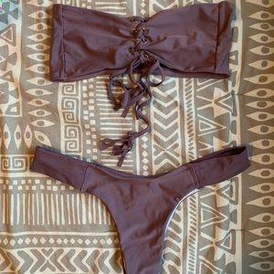 Purple bandeau bikini